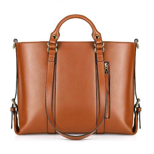 879eec8b5 Kattee Urban Style 3-Way Women s Genuine Leather Shoulder Tote Bag (Orange)