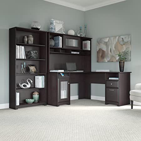 Bestar Ridgeley Collection 3 Piece Set Including A U Or L Shaped Desk With Hutch A Lateral File Cabinet And A Bookcase Furniture Decor
