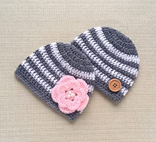 Newborn Twin Boy and Girl Hat Set Matching Baby Beanies Crochet Photo Props for Babies Pictures