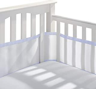SUNELF Breathable Mesh Crib Bumper Pads Safe Classic Crib Liner Soft Lightweight Polyester Bumper Pads for Standard Baby Crib Blue