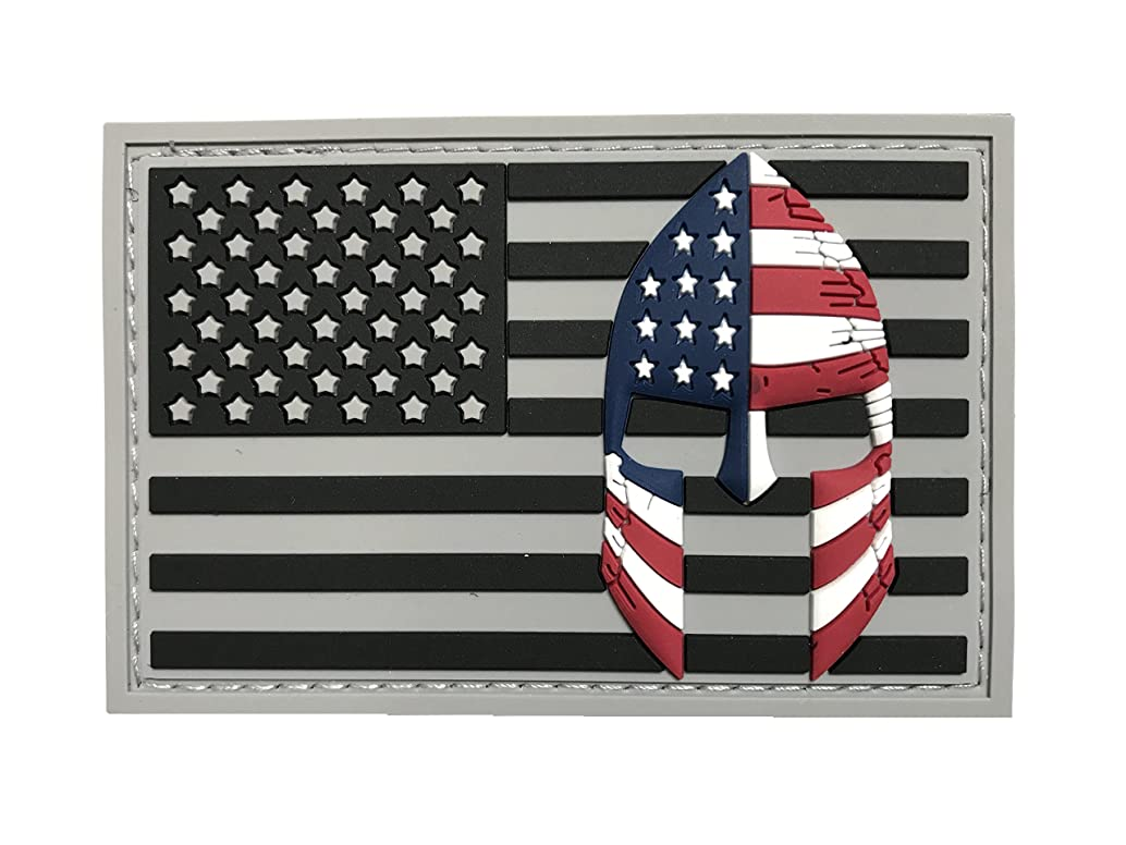 USA Flag with Spartan Helmet (Molon Labe) 3D PVC Rubber Morale Patch, Represent American Pride, Perfect for Tactical Operator Caps, Hats, Jackets, Bags, Packs and Military Apparel