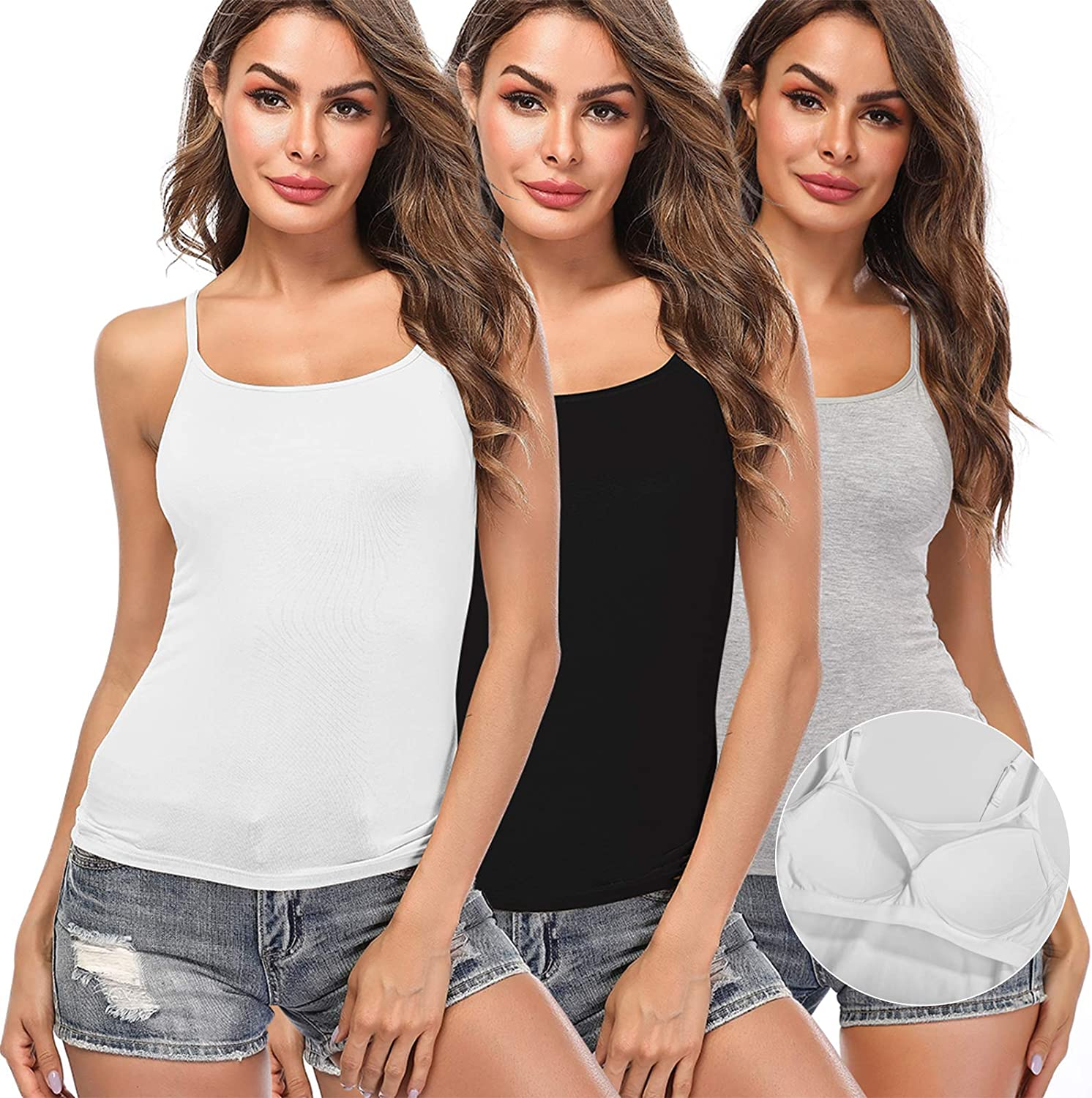 Women Camisole with Built-in Bra Cup Strap Supportive Padded Tank Top Layering Cami Undershirt for Yoga