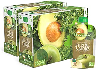 Sponsored Ad - Happy Baby Organic Clearly Crafted Stage 2 Baby Food Apples, Kale & Avocados, 4 Ounce Pouch (Pack of 16) (P...