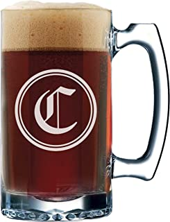 Groomsmen Beer Glasses - Engraved Personalized Custom Beer Mug Gifts - 12 oz (Circle Initial Style - 12 oz)