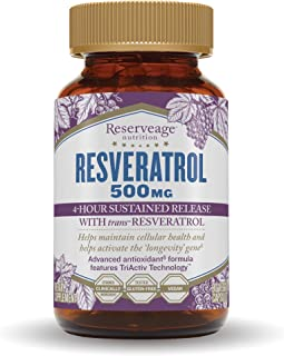 Reserveage, Resveratrol 500 mg, Antioxidant Supplement for Heart and Cellular Health, Supports Healthy Aging, Paleo, Keto,...