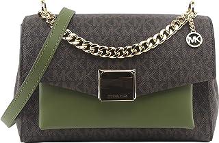 حقيبة ليتا متوسطة الحجم من الجلد بلونين من مايكل كورس للنساء بلون أخضر داكن، طراز 35T0GXPL2B.