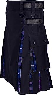 UFS Kilts-Men's Plus Size Scottish Hybrid Black Cotton & Tartan Utility Kilts with Leather Straps Kilts for Men