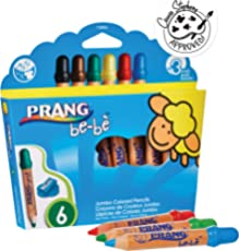 PRANG be-be Jumbo Colored Pencils for Small Children, Washable, Includes Sharpener, Assorted Colors, 6-Pack (73006)