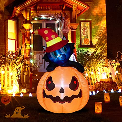 wholesale Twinkle lowest Star 6 Ft Halloween Lighted Decorations Inflatables Pumpkin Cat Outdoor Indoor Holiday lowest Decorations, LED Lights Animated Halloween Yard Prop, Giant Lawn Decorations outlet online sale