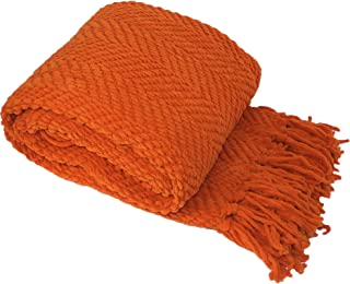 """Home Soft Things Knitted Tweed Throw Couch Cover Blanket, 60"""" x 80"""", Burnt Orange"""