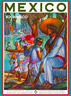 A SLICE IN TIME Mexico Xochimilco Mexican Spanish Vintage Travel Home Collectible Wall Decor Advertisement Art Poster Print. 10 x 13.5 inches.
