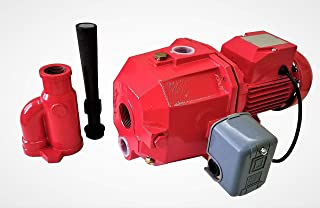 Hallmark Industries MA0462CJ-07 Convertible Deep Well Jet Pump, 3/4 hp Dual V, Brass Impeller, with Pressure Switch, Nozzle, Adaptor, Red, Cast Iron