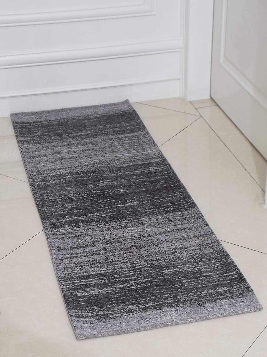 AMIDA Grey Runner Rug Mail order Non Skid and for Washable Special price Kitchen Hallway