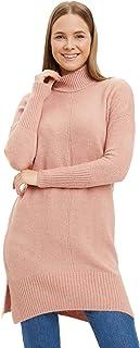 DeFacto Dames sleeve gedetailleerde gebreide tuniek voor gelegenheden dragen effen stijl licht en ademende warme stof