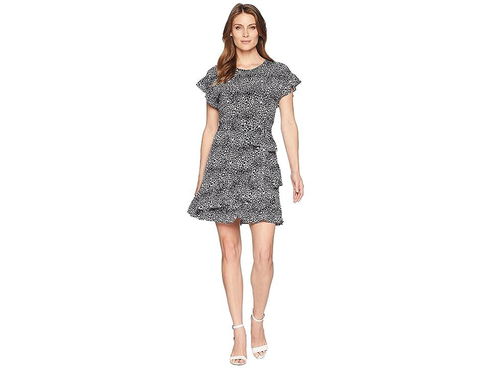 MICHAEL Michael Kors Wavy Leopard Ruffle Wrap Dress (Black/White) Women