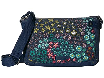 Sakroots Tarzana Triple Gusset Mini (Navy Floral Spirit) Cross Body Handbags