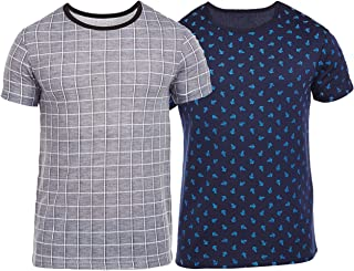 VIMAL JONNEY Overall Print Navy and Grey Check Printed Tshirts for Men(Pack of 2)-T_PRT_NO.8_NV_CKH_Gry_02-P