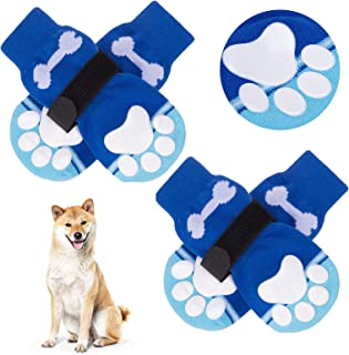 BINGPET Anti-Slip Dog Socks with Bone Embroidery Pattern - 2 Pairs Soft and Breathable Pet Puppy Paw Protector