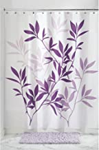 InterDesign Leaves Fabric Polyester Shower Curtain, 72 x 72 – Pack of 2, Purple