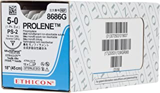 Ethicon PROLENE Polypropylene Suture, 8686G, Synthetic Non-absorbable, PS-2 (19 mm), 3/8 Circle Needle, Size 5-0, 18'' (45 cm)