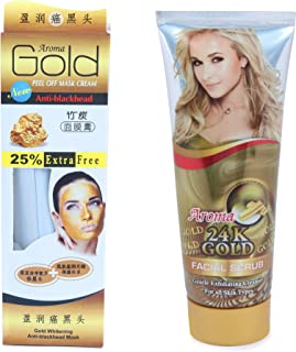 SAAMA Gold 24k Peel Of Mask Cream And Facial Scrub Cleanser For All Skin Types Combo Pack of 2