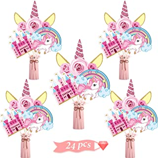 24 Pieces Pink Unicorn Party Decorations, Unicorn Party Centerpiece Sticks Unicorn Cutouts for Baby Shower Birthday Party ...