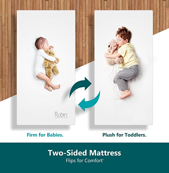 Moonlight Slumber Breathable Dual Sided Baby Crib Mattress Firm Sided For Infants Reverse To Soft Side For Toddlers Bed Easy To Clean Waterproof And Odor Resistant Made In USA Latest Version