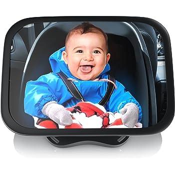 Ampia Vista Girevole 360 Gradi Resistenti agli Incidenti Installazione Facile Amzdeal Specchio Auto Neonato Infrangibile Specchietto Retrovisore per Sedili Posteriori 30 x 19 cm