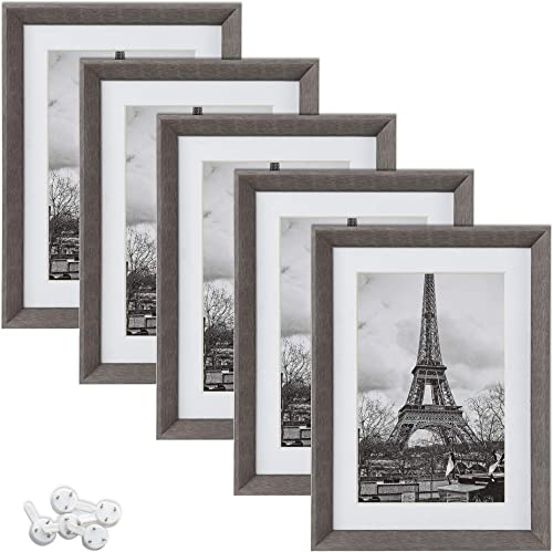 upsimples 5x7 Picture Frames with High Definition Glass,Display Pictures 4x6 with Mat or 5x7 Without Mat,Rustic Photo...