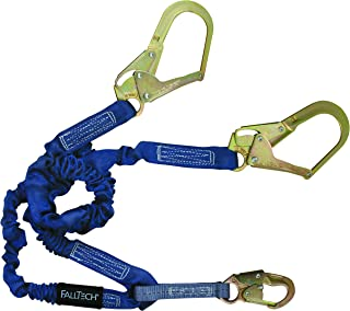 FallTech 8240Y3 ElasTech, Internal Elastic SAL-Adjustable Y-Leg for 100% Tie-Off with 1 Snap Hook and 2 Rebar Hooks, 4 1/2' to 6', Blue
