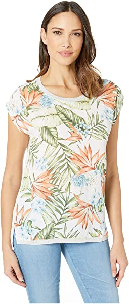 Printed Crepe Woven Front Short Sleeve Top