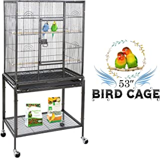ZENY Bird Cage with Stand Wrought Iron Construction 53-Inch Pet Bird Cage Play Top Parrot..