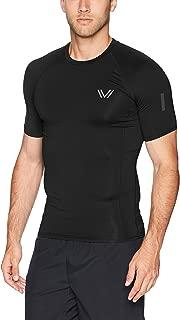 Peak Velocity Mens MA28T07 Short Sleeve Run Compression Crew Neck Top Short Sleeve Yoga Shirt