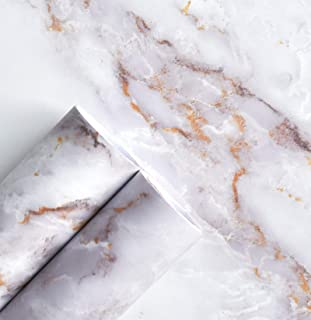 """Marble Contact Paper for Countertops Marble Wall Paper Matte Peel and Stick Wallpaper Removable Self Adhesive Granite Vinyl Film Waterproof Roll 15.7""""×79"""" Thick, Easy to Clean & Install White / Gold"""