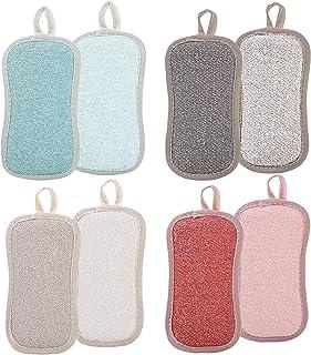 Lot De 8 Eponges Vaisselle Reutilisable en Microfibre - Éponge Lavable Ecologique Grattante - Tampons Antibactérienne Pour...