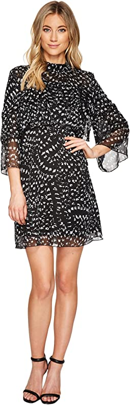 3/4 Sleeve Large Ruffle A-Line Dress