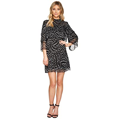 CATHERINE Catherine Malandrino 3/4 Sleeve Large Ruffle A-Line Dress (Texture Animal Black/White) Women