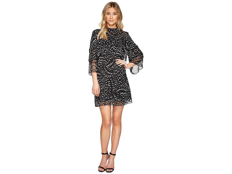 CATHERINE Catherine Malandrino 3/4 Sleeve Large Ruffle A-Line Dress (Texture Animal Black/White) Women
