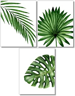 Tropical Leaves Art Prints - Botanical Prints Wall Art - Watercolor Monstera Date Palm Leaf Decor - Set of 3-8x10 - Unframed