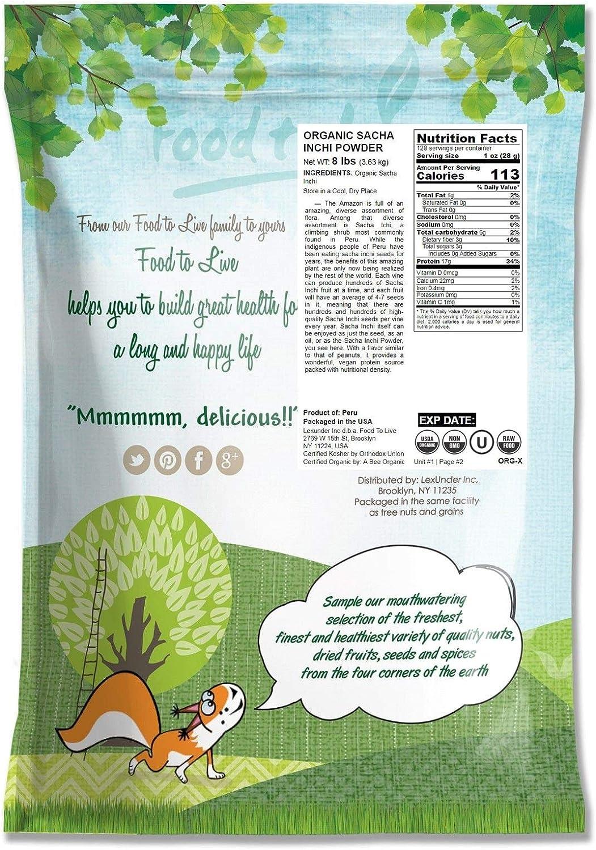 Polvo de Sacha Inchi orgánico, 8 Libras - Eco, Ecológico, sin OMG, polvo de nuez inca kosher, polvo de proteína vegana cruda, rico en omega-3, a ...