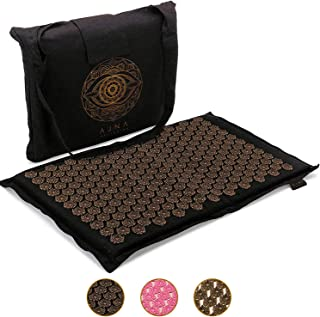 Ajna Acupressure Mat for Massage - Natural Organic Linen Cotton Acupuncture Mat and Bag - Back Pain Relief, Neck Pain Relief, Stress Reliever, Reflexology, Sciatica, Trigger Point Therapy (Midnight)