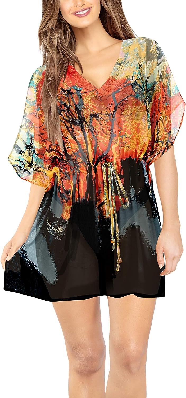 LA LEELA Women's Allover Print Swimsuit Cover-up Bikini Drawstring Waist Dress H