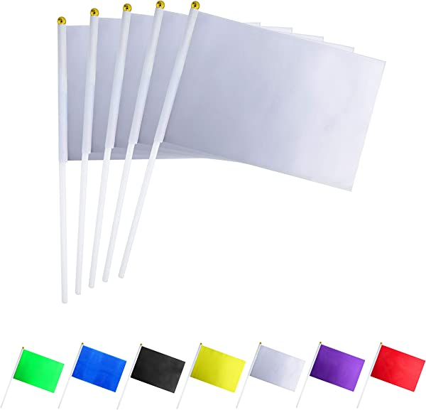 GentleGirl USA 50 Pack White Flag Pure Solid Blank Small Mini Banner Banner Flags Stick Party Color Decoration Parade Supplies School Sports Club International Festival Celebration