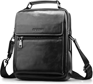 SPAHER Men Leather Shoulder Bag Handbag IPAD Business Messenger Backpack Crossbody Casual Tote Sling Travel Bag Document Bag with Top-Handle and Adjustable Strap Large Size Black