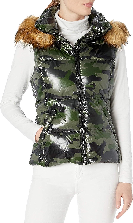 S13 Women's Snowcat Down Puffer Vest with Faux Fur Hood