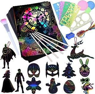 Longruner Scratch Paper Art Set for Kids - Rainbow Magic Scratch Off Arts and Crafts Supplies Kits Sheet Pack for Children...