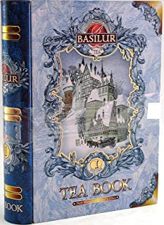 Basilur   Gift Tea Set   Tea Book -Vol 1   Collectable Metal Tin Caddy   Pure Ceylon Black Tea with Jasmine buds, Blue Malva and flavor roasted Almond   Non GMO Whole Leaf Tea   100g /3.52 oz.