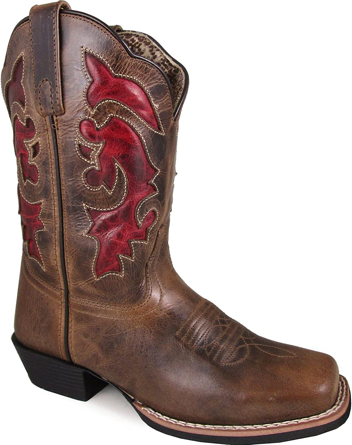 Smoky Mountain Women's Claire Pull On Stitched Design Square Toe Brown Waxed