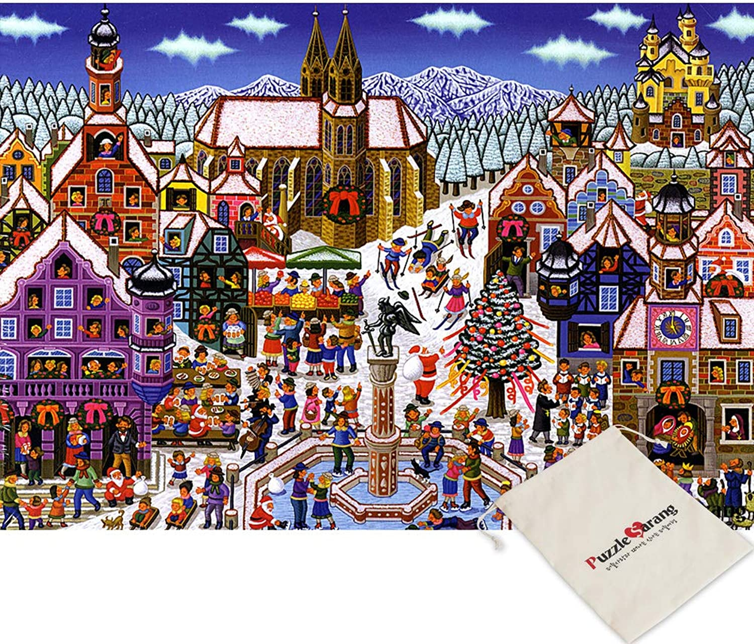 Chamberart Snow Town - 500 Piece Jigsaw Puzzle [Pouch Included]