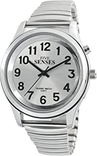 5 Senses I English Silver-Tone Alarm Day-Date Men Talking Watch 1152A